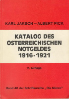 Photo de la couverture de : Karl Jaksch, Albert Pick; 1977. Katalog des österreichischen Notgeldes 1916-1921 (2nd edition). Pröh , Berlin, Germany.