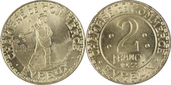 2 francs chambre de commerce evreux laiton 27 for Chambre de commerce evreux