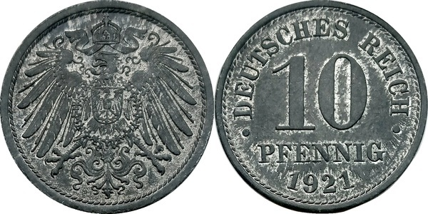 10 Pfennig Wilhelm Ii Type 2 Grand Aigle Sans Atelier