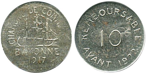 10 centimes chambre de commerce 1917 bayonne 64 for Chambre de commerce en anglais