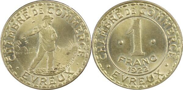 1 franc chambre de commerce d 39 vreux laiton 27 for Chambre de commerce portugaise en france