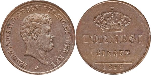 5 Tornesi Ferdinando Ii Royaume Des Deux Siciles Numista