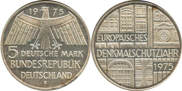 5 Deutsche Mark Europäisches Denkmalschutzjahr Allemagne