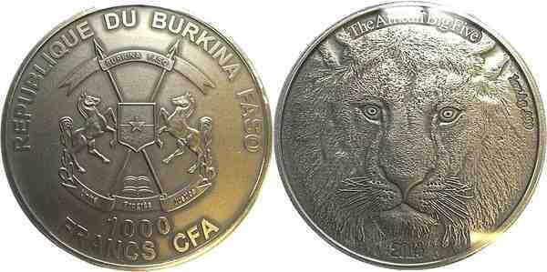 1000 francs 1 oz silver the african big five lion. Black Bedroom Furniture Sets. Home Design Ideas