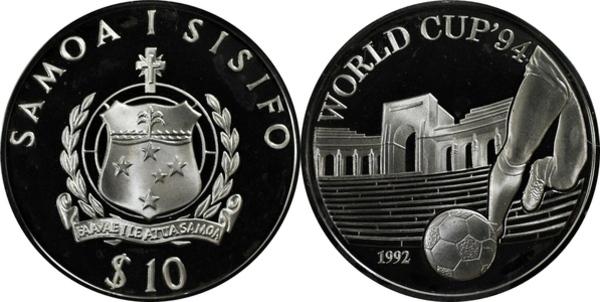 10 tala tanumafili ii coupe du monde de football usa 1994 samoa numista - Coupe du monde football 1994 ...
