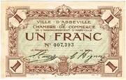 1 franc - Ville et Chambre de Commerce d'Abbeville [80] <Filigrane feuilles, avec timbre sec> – avers