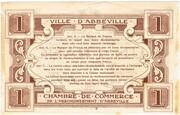 1 franc - Ville et Chambre de Commerce d'Abbeville [80] <Filigrane feuilles, avec timbre sec> – revers