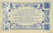 2 francs - Ville et Chambre de Commerce d'Abbeville [80] <Filigrane feuilles, avec timbre sec> – revers