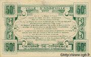 50 centimes - Ville et Chambre de Commerce d'Abbeville [80] <Filigrane abeilles, sans timbre sec> – revers