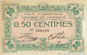 50 centimes - Ville et Chambre de Commerce d'Abbeville [80] <Filigrane feuilles, avec timbre sec> – avers