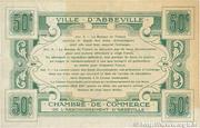 50 centimes - Ville et Chambre de Commerce d'Abbeville [80] <Filigrane feuilles, avec timbre sec> – revers
