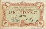 1 franc - Ville et Chambre de Commerce d'Abbeville [80] <Filigrane abeilles, sans timbre sec> – avers