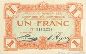 1 franc - Ville et Chambre de Commerce d'Abbeville [80] <Sans filigrane, avec timbre sec> – avers