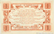 1 franc - Ville et Chambre de Commerce d'Abbeville [80] <Sans filigrane, avec timbre sec> – revers