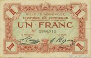 1 franc - Ville et Chambre de Commerce d'Abbeville [80] <Sans filigrane, sans timbre sec> – avers