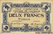 2 francs - Ville et Chambre de Commerce d'Abbeville [80] <Filigrane abeilles, sans timbre sec> – avers