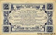 2 francs - Ville et Chambre de Commerce d'Abbeville [80] <Filigrane abeilles, sans timbre sec> – revers