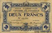 2 francs - Ville et Chambre de Commerce d'Abbeville [80] <Sans filigrane, avec timbre sec> – avers