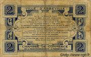 2 francs - Ville et Chambre de Commerce d'Abbeville [80] <Sans filigrane, avec timbre sec> – revers