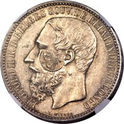 1200 réis (contremarqué sur 5 francs -  Congo - État indépendant) - Luis I – avers