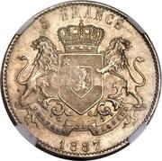 1200 réis (contremarqué sur 5 francs -  Congo - État indépendant) - Luis I – revers