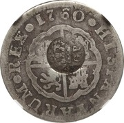 300 réis (contremarqué sur 2 reales - Carlos III; Spain) – avers