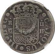 300 réis (contremarqué sur 2 reales - Carlos III; Spain) – revers