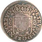 """200 réis (contremerqué sur """"6 vinténs - Pierre II; Porto"""") - Luis I – revers"""