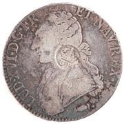 """1200 réis (contremarqué sur """"1 ecu - Louis XVI; France"""") - Luis I – avers"""