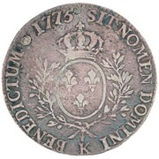 """1200 réis (contremarqué sur """"1 ecu - Louis XVI; France"""") - Luis I – revers"""