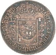 """200 réis (contremarqué sur """"160 réis - Maria I et Pedro III; Brésil"""") - Luis I – avers"""