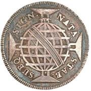 """200 réis (contremarqué sur """"160 réis - Maria I et Pedro III; Brésil"""") - Luis I – revers"""