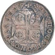 """200 réis (contremarqué sur """"150 réis - Marie I; Açores"""") - Luis I – revers"""