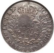 """1200 réis ( contremarqué sur """"960 réis - João VI; Brazil"""") - Luis I – revers"""