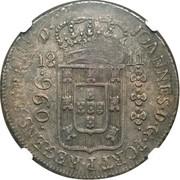 """1200 réis (contremarqué sur """"960 réis - João Regent; Brésil"""") - Luis I – revers"""