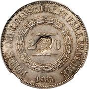 """1200 réis (contremarqué sur """"2000 réis - Pedro II; Brésil"""") - Luis I – avers"""