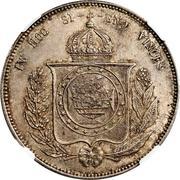 """1200 réis (contremarqué sur """"2000 réis - Pedro II; Brésil"""") - Luis I – revers"""