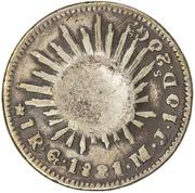 """120 Réis (ontremarqué sur """"1 Real - Mexico Republic"""") – revers"""