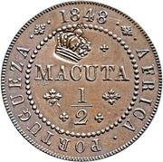 40 réis (contremarquée sur ½ macuta - Marie II) - Luiz I – avers