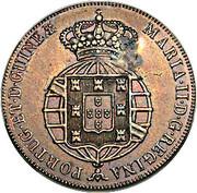 40 réis (contremarquée sur ½ macuta - Marie II) - Luiz I – revers