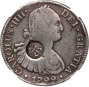 1200 réis (contremarqué sur 8 Reales - Carlos IIII, Espagne) - Luis I – avers