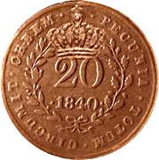 20 réis (contremarqué sur 20 réis - Marie II; Mozambique) - Luiz I – avers