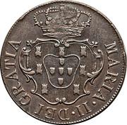 """20 réis (contremarqué sur """"X réis - Marie II; Açores"""") - Luis I – avers"""