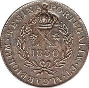 """20 réis (contremarqué sur """"X réis - Marie II; Açores"""") - Luis I – revers"""