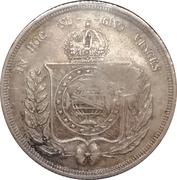 """300 réis (contremarqué sur """"500 réis - Pedro II; Brazil"""") - Luis I – revers"""