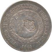 """600 réis (contremarqué sur """"1000 réis - Pedro II; Brésil"""") - Luis I – avers"""