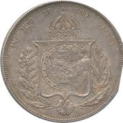 """600 réis (contremarqué sur """"1000 réis - Pedro II; Brésil"""") - Luis I – revers"""
