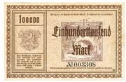100,000 Mark (Adorf im Vogtland) – revers