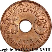 25 centimes – revers