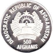 500 afghanis Jeux olympiques d'hiver Albertville 1992 – avers